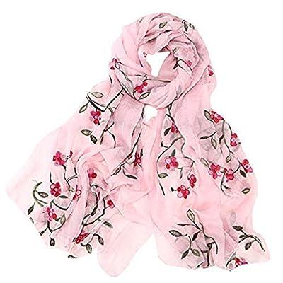 HENWERD Womens Embroidery Chiffon Scarf Hijab Wrap Shawls Headband Muslim Hijabs Scarf (Pink) at  Women's Clothing store