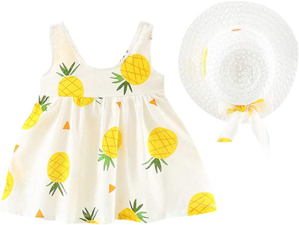 Weant Newborn Baby Infant Toddles Girls Lovely Sleeveless Pineapple Princess Dress Cute Hat 2pcs Clothes Outfits for Kids Sundress Clothing Gifts Girls Dress Outfits for 3-24Months