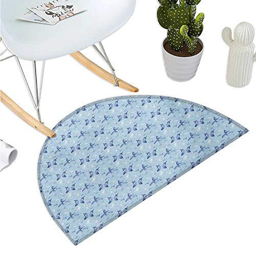 Butterfly Semicircular Cushion Blue Color with Dragonflies Floral Arrangement Swirls Curves Spring Entry Door Mat H 43.3