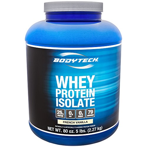 BodyTech Whey Protein Isolate Powder with 25 Grams of Protein per Serving BCAA s Ideal for PostWorkout Muscle Building Growth, Contains Milk Soy Vanilla 5 Pound