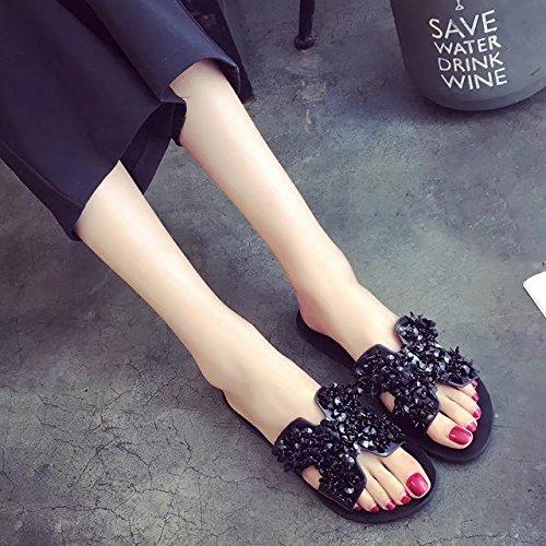 Casual Femmes 40 Noir Non Bas Avec Style Angleterre Gtvernh Chaussures Au Printemps De Cool slip Pantoufles XxC60wqH