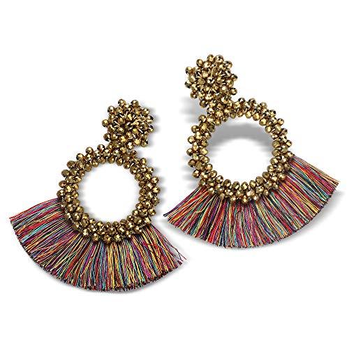 FIFATA Bohemian Statement Beaded Earrings - Handmade Fringe Dangle Drop Earrings for Women (colorful) - Hobe Beaded Earrings