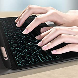 XIWMIX Ultra-Slim Wireless Bluetooth Keyboard - 7 Colors Backlit with Touchpad - Universal Rechargeable Keyboard for iPad Pro/iPad 10.2/iPad Air/Microsoft Surface and Other iOS Android Windows Devices (Color: touchpad black)