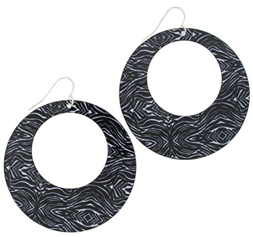 "Zebra Animal Print Black White Mod Dangle Hoop Pierced Earrings 2 3/8"" Earrings For Women Set"