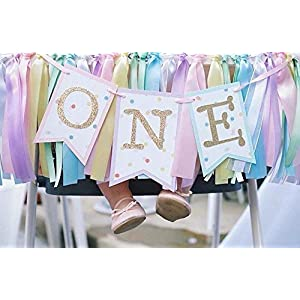 Rainbow Highchair Banner and Ribbon Fabric Garland : Rainbow Unicorn First Birthday