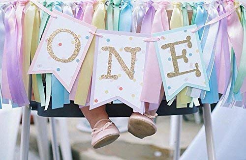 Rainbow Highchair Banner and Ribbon Fabric Garland : Rainbow Unicorn First Birthday 3