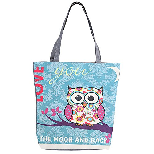 Print Canvas Shopper (Flowertree Women's Cute Oversized Owl Print Canvas Tote Shopping Bag (moon))