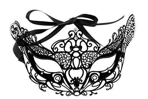 Maskette Halloween Vintage Laser Cut Rhinestone Mask With Ribbon Attachment -