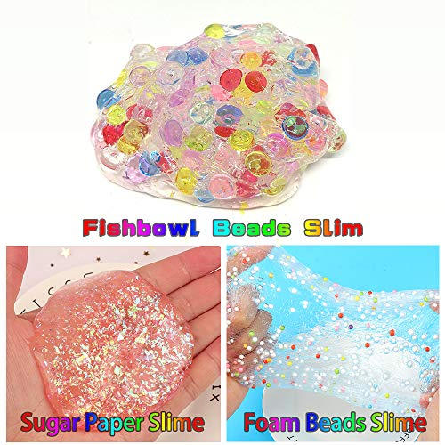 Slime Kit, 135 Pack Slime Making Kit 30 Crystal Slime, Glitter Jars, Charms, Sugar Paper, Foam Beads, Fishbowl Beads, Toy Cups, Slices, Air Dry Clay and Tools for Kids Girls by WINLIP by WINLIP (Image #5)