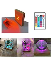 Amldoreat LED Lights Display Base, Wooden Lighted Base Stand with Remote Control for Laser Crystal Glass Resin Art, Sphere, Cylinder,Cube,Hexahedron, Resin Silicone Molds