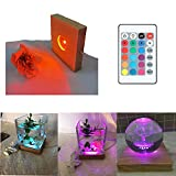 Amldoreat 4 Inches LED Lights Display Base, Square Wooden Lighted Base Stand with Remote Control for Laser Crystal Glass Resin Art, Sphere, Cylinder,Cube,Hexahedron, Resin Silicone Molds