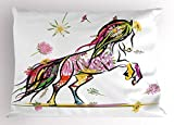 Lunarable Sketchy Pillow Sham, Pony Horse Surrounded by Colorful Flowers on Her Tail and Hair Equestrian Design, Decorative Standard Size Printed Pillowcase, 26 X 20 Inches, Multicolor