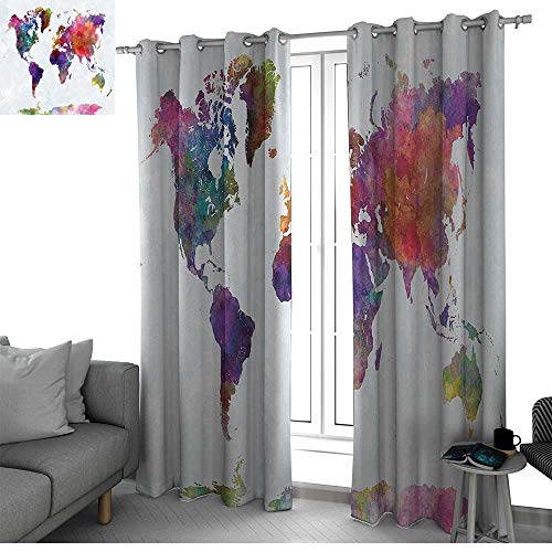 bybyhome Watercolor Blackout Curtains Panels for Bedroom Multicolored Hand Drawn World Map Asia Europe Africa America Geography Print Room Decor for Boys Multicolor W120 x L96 Inch