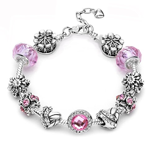 """Eliana and Eli Mother Daughter Friendship Charm Bracelet Jewelry -""""Believe in Magic- European Beads Charms Bracelet Gift (Playful Pink Circle)"""