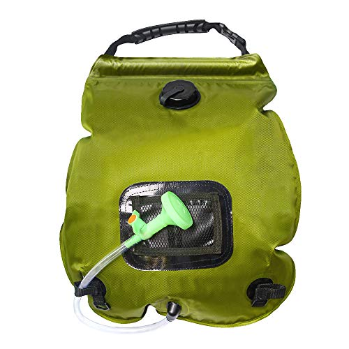 HOME TELLER Solar Shower Bag Outdoor Camp Bag with Removable Hose and On-Off Switchable Shower Head for Camping Beach Swimming Outdoor Traveling Hiking (5 Gallon) ()