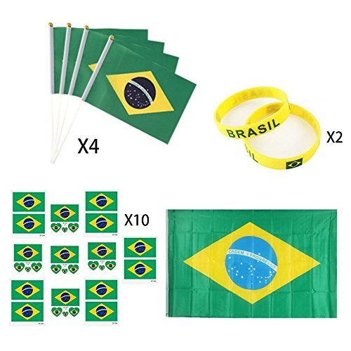 KingShark World Cup 2018 Set, Football Suit Fans Scarf, Brazil, Hand Held Flags, Big National Flag, Tattoo Stickers, Silicone Wristbands, Party Club Bar Decorations Festival Celebration