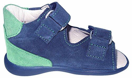 Helgas Modewelt Däumling Kurti, Kleinkinder Sandalen, Lauflernschuhe, Sommerschuhe blau/grün (Turino jeans)