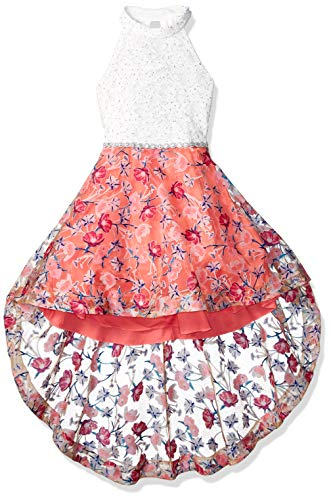 Speechless Girls' Big Mock Neck Dress with Wired Hem, Yellow Pink -