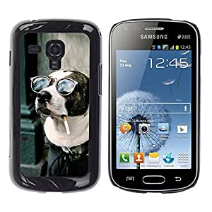 Be Good Phone Accessory // Dura Cáscara cubierta Protectora Caso Carcasa Funda de Protección para Samsung Galaxy S Duos S7562 // American Pit Bull Terrier Dog Smoking
