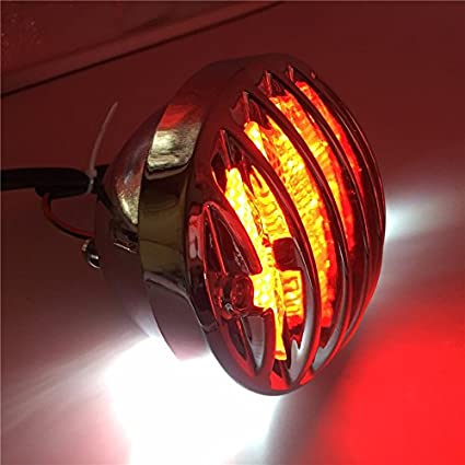 NBX Chrome Pre-Grille Ribbed Round LED Tail Brake Light Red Lens Integrated License Plate Lamp For Compatible with Bobber Chopper Cruiser Street Bike Kawasaki Suzuki Yamaha