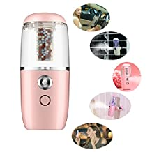 [Latest Design]Mini Portable Humidifier Car Oil Diffuser, Kobwa Ultrasonic Essential Air Diffusers With Negative Ions Particles.(Pink)