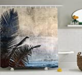 Hawaiian Decorations Shower Curtain Set By Ambesonne, Palm Tree Leaves On Grunge Background With Sea Vintage Waterscape Illustration, Bathroom Accessories, 69W X 70L Inches, Beige Navy