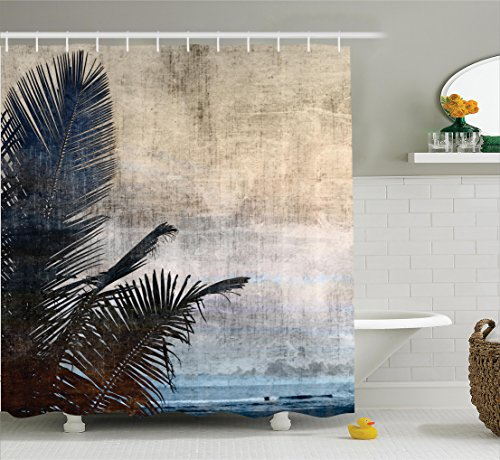 Hawaiian Decorations Shower Curtain Set by Ambesonne, Palm Tree Leaves on Grunge Background with Sea Vintage Waterscape Illustration, Bathroom Accessories, 75 Inches Long, Beige (Hawaiian Themed Clothes Ideas)