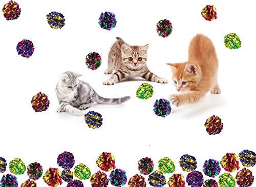 (Prairie Horse Supply X Large Premium Mylar Crinkle Balls (7 Pack) (2.5 Inches in Diameter) Interactive Long Lasting Lightweight Shiny Metallic Cat Kitten Toys Assorted)