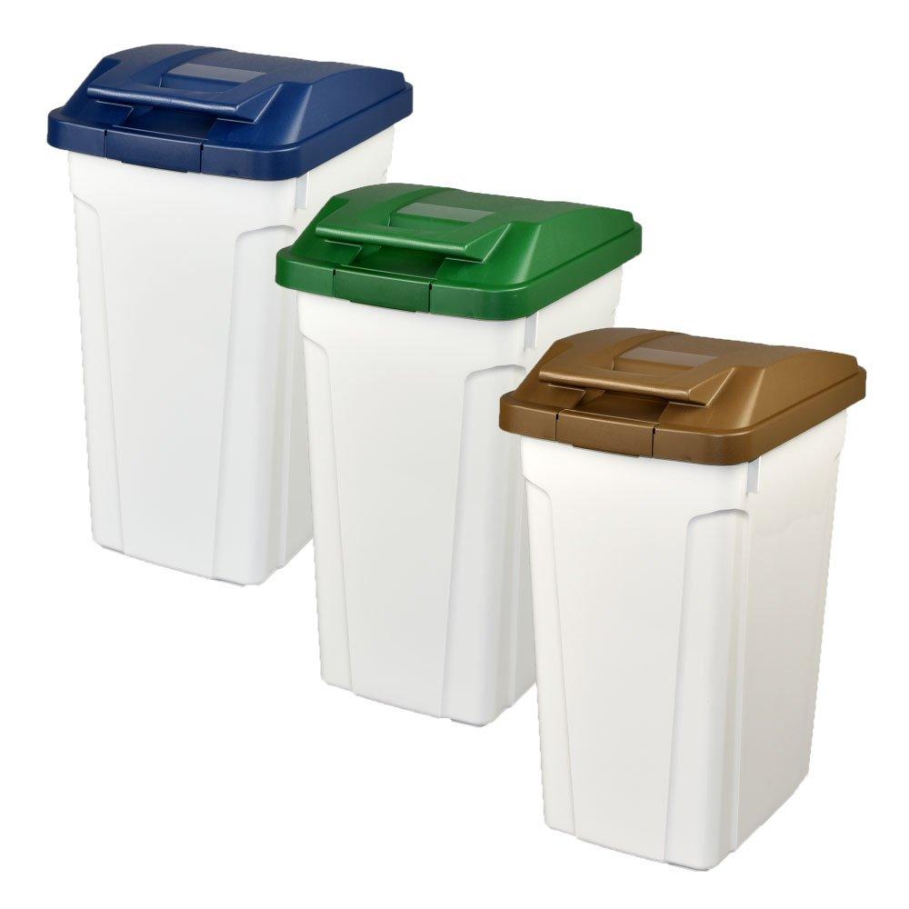 ASVEL ハンドルペール 35L 3個セット ゴミ箱 ごみ箱 ダストボックス おしゃれ ふた付き アスベル (ブルー×グリーン×ブラウン) B0747812BF ブルー×グリーン×ブラウン ブルー×グリーン×ブラウン