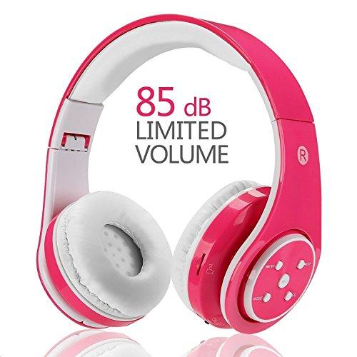 【Version mise à jour】 Casque sans fil Bluetooth pour enfants Volume limitant l'écouteur pliable avec microphone Aux in Carte SD FM pour Smartphone PC Tablette Rose-Votones