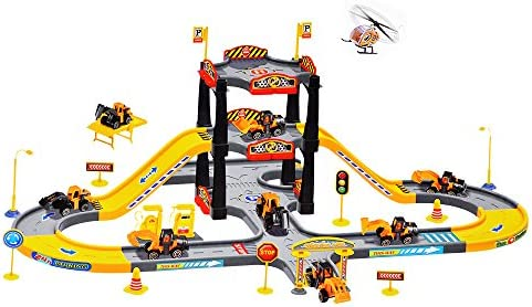 amazon kid track playset acekid children solt car city Private Garage kid track playset acekid children solt car city construction parking garage playset with 3 vehicles and 1 plane car playset