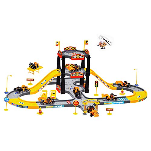 Mcqueen Lightning Racetrack (Kid Track Playset Acekid Children Solt Car City Construction Parking Garage Playset with 3 Vehicles and 1 Plane Car Playset)