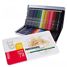 Monoshop 72 Assorted Oil-Based Colored Pencils Set - Soft Core Drawing Pencils for Artist Sketch, Drawing, Secret Garden and Other Coloring Book (Tin Pencil Case)