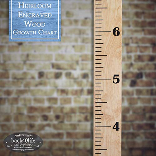 Back40Life | Heirloom Engraved Series - (The Establishment) Wooden Growth Chart Height Ruler (Golden Pecan Stain + Black) (Pecan Solid)