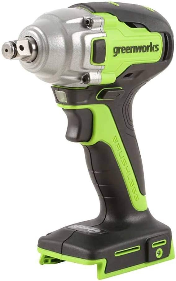 Greenworks - Atornillador de impacto eléctrico para coche, batería de ion de litio de 24 V, 400 Nm, llave sin cepillo para neumáticos, 2800 rpm, 3 velocidades.
