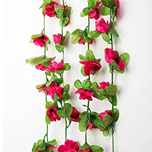 Purewing Artificial Rose Vine Garlands Silk Fake Rose Ivy Hanging Leaf Fake Flower Plants for Home Wedding Table Decoration 8.2FT 2.5M 38