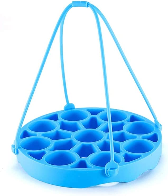Tospania Egg Rack Bakeware Sling for Instant Pot or Electric Pressure Cookers 6 Qt / 8Qt - Holds 9 Eggs for Easy Cooking of Perfect Hard or Soft Boiled Eggs (Blue)