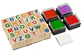 Moore: Premium Wooden Alphabet Stamp Set - 34 piece set of Capital Letters Stamps With 4 Color Ink Pads.