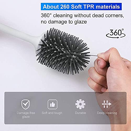 Toilet Brush and Holder, PowerDoF Toilet Bowl Brush with Silicone Bristle Cleaning Brush Head and Quick Drying Holder Toilet Brush Set for Bathroom Cleaning and Collation