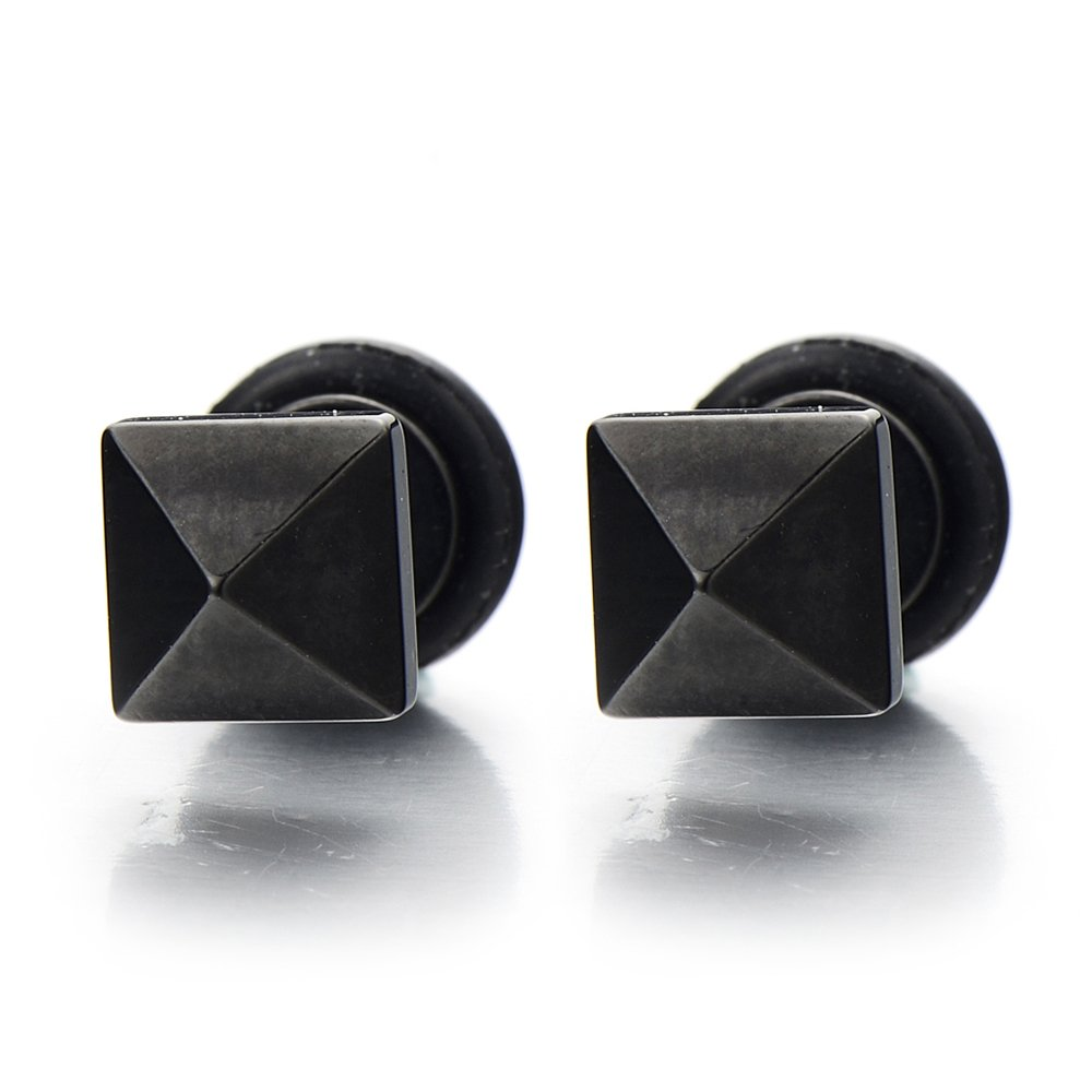 Black Pyramid Stud Earrings in Stainless Steel for Man and Women Satin Finishing Screw Back, 2pcs