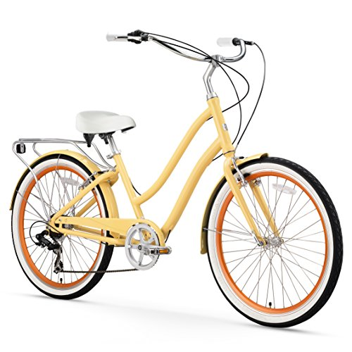 Aluminum Cruiser Bicycle (sixthreezero EVRYjourney Women's 7-Speed Step-Through Hybrid Cruiser Bicycle, Cream w/White Seat/Grips)
