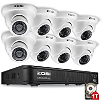 ZOSI 720P AHD Home Security Camera System ,8CH AHD CCTV DVR with Built-in 1TB Hard Drive + 8PCS 1280TVL Waterproof Dome Surveillance Cameras,QR Code Quick Scan Remote Access Viewing