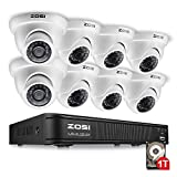 ZOSI 8-Channel HD-TVI 1080P Lite Video Security Camera System,Surveillance DVR and (8) 1.0MP 1280TVL Indoor/Outdoor Weatherproof Bullet Cameras with 65ft(20m) IR Night Vision LEDs- 1TB HDD Built-In
