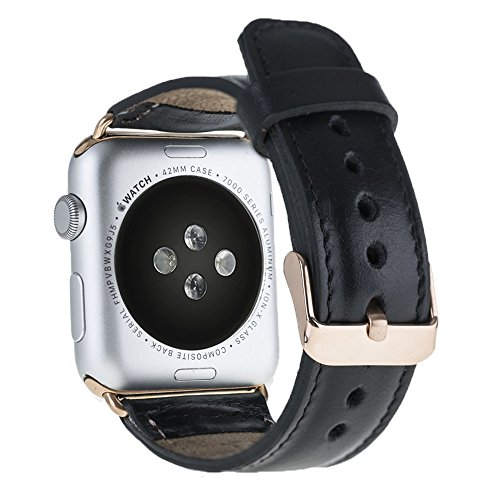 Solo Pelle Apple Watch Series 1  2 Band, Top-grain Leather Band Strap with Stainless Metal Clasp for Apple Watch Series 1  2 Handmade (38mm Black/Go…