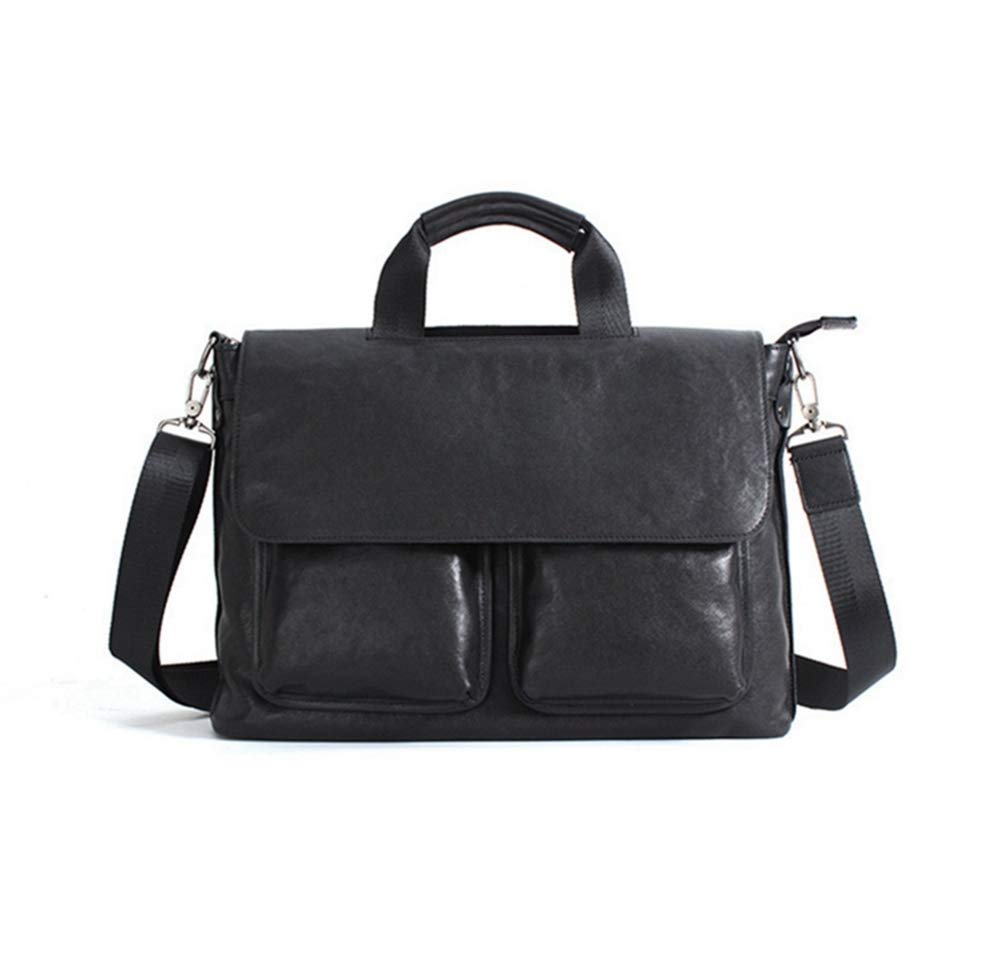 ZhiGe Briefcase,Mens Leather Tote Bag Cross-Section Business Casual One-Shoulder Briefcase