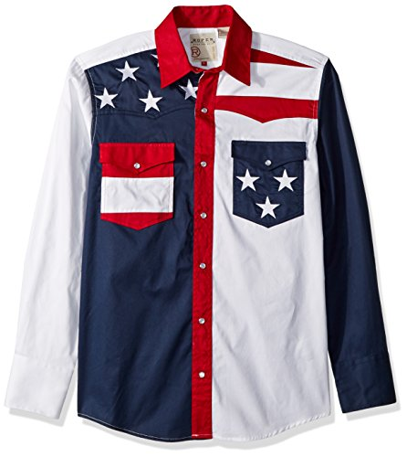 Roper Men's Pieced Stars and Stripes Patriotic, Blue, XL ()