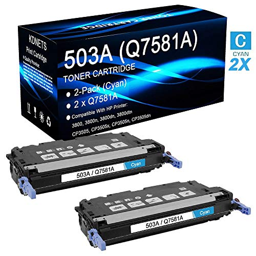 2-Pack Compatible 503A Q7581A (2 Cyan, 12,000 Pages) Print Cartridge Use for HP Color Laserjet 3800n Printer, by KDNETS