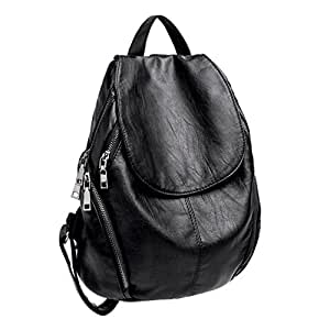 UTO Women Backpack Purse PU Washed Leather Large Capacity Ladies Rucksack Shoulder Bag Black