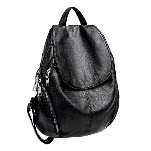 Washed Women PU Bag Capacity Purse Version Leather Backpack UTO Ladies Large Shoulder Black Upgraded Rucksack OTwEY1aqy
