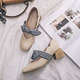 GAOLIM Spring Square In The Women'S Singles Shoes With The Light Of Women'S Shoes Bow Tie Single Shoes Female Thick With Black Work Shoes,34, Beige